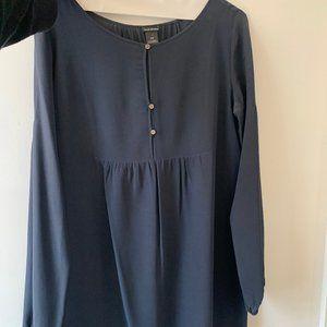 Club Monaco Blue Long Sleeve Silk Blouse (S)